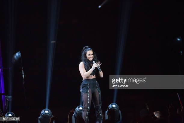 Demi Lovato performs on stage at 1035 KISS FM's iHeartRadio Jingle Ball 2017 on December 13 2017 in Chicago Illinois