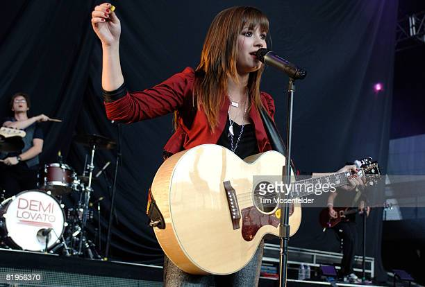 Demi Lovato performs on stage at the Shoreline Amphitheater on July 15, 2008 in Mountain View, California.