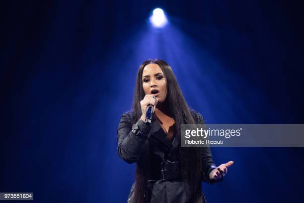 Demi Lovato performs on stage at The SSE Hydro on June 13 2018 in Glasgow Scotland