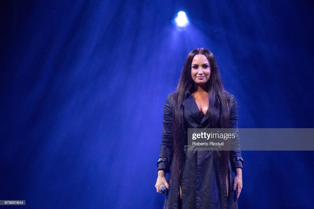 Demi Lovato performs on stage at The SSE Hydro on June 13, 2018 in Glasgow, Scotland.