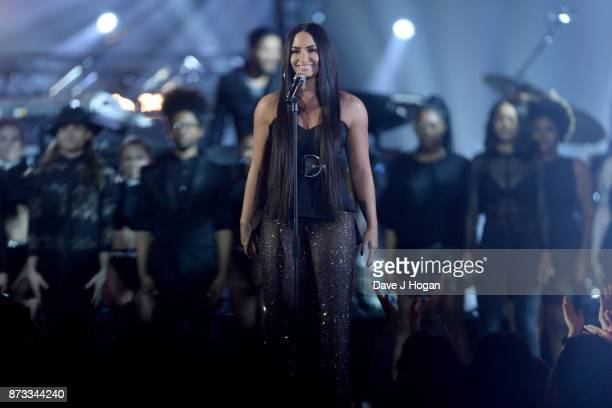 Demi Lovato performs on stage during the MTV EMAs 2017 held at The SSE Arena Wembley on November 12 2017 in London England