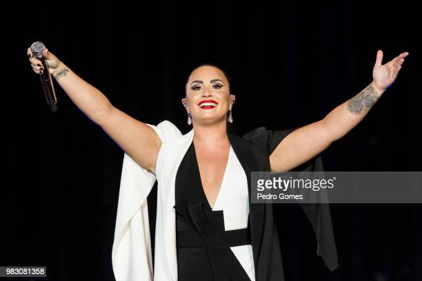Demi Lovato performs on the Mundo stage at day two of Rock in Rio Lisbon on June 24 2018 in Lisbon Portugal