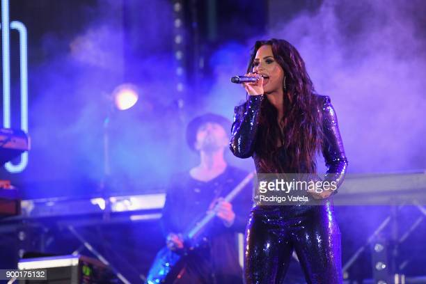 Demi Lovato performs onstage at Fontainebleau Miami Beach on December 31 2017 in Miami Beach Florida