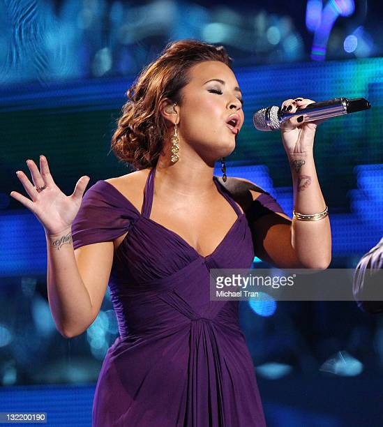 Demi Lovato performs onstage at the 12th Annual Latin GRAMMY Awards held at Mandalay Bay Events Center on November 10 2011 in Las Vegas Nevada
