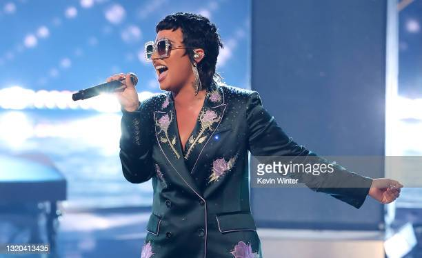 Demi Lovato performs onstage at the 2021 iHeartRadio Music Awards at The Dolby Theatre in Los Angeles, California, which was broadcast live on FOX on...