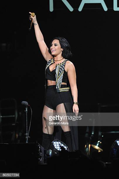 Demi Lovato performs onstage during 933 FLZ's Jingle Ball 2015 Presented by Capital One at Amalie Arena on December 19 2015 in Tampa Bay Fla