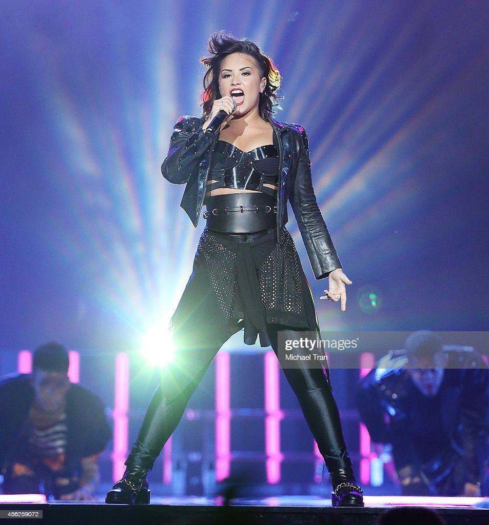 Demi Lovato Performs Onstage During Her Demi World Tour Held At Staples Center On September