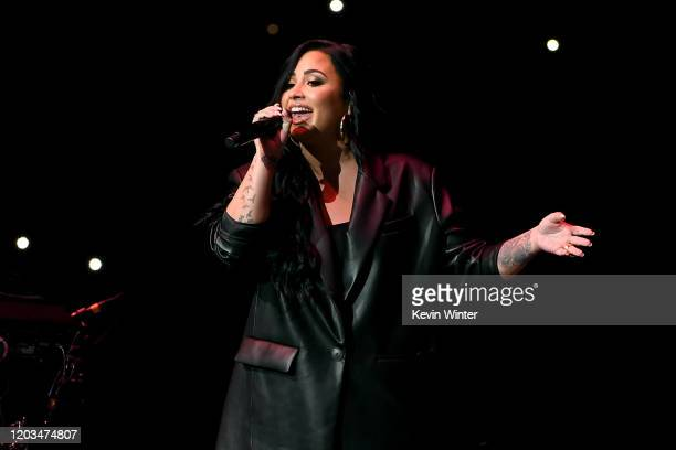 Demi Lovato performs onstage during the Bud Light Super Bowl Music Fest on February 01 2020 in Miami Florida