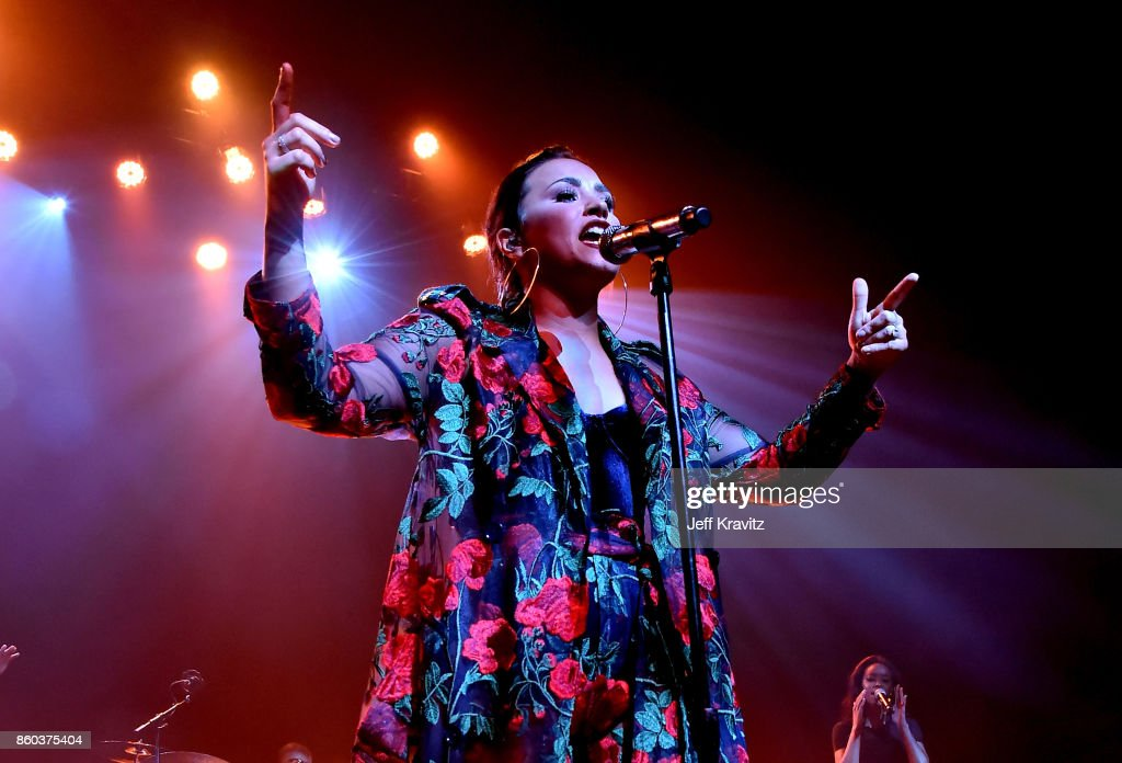 Demi Lovato performs onstage during the 'Demi Lovato: Simply Complicated' YouTube premiere at The Fonda Theatre on October 11, 2017 in Los Angeles, California.