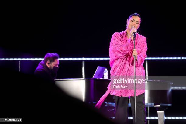 """Demi Lovato performs onstage during the OBB Premiere Event for YouTube Originals Docuseries """"Demi Lovato: Dancing With The Devil"""" at The Beverly..."""