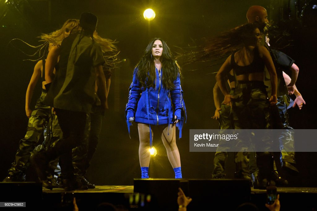 Demi Lovato performs onstage during the 'Tell Me You Love Me' World Tour at Barclays Center of Brooklyn on March 16, 2018 in New York City.