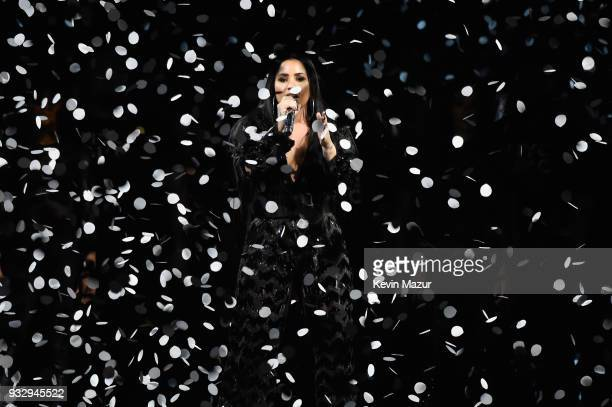 Demi Lovato performs onstage during the 'Tell Me You Love Me' World Tour at Barclays Center of Brooklyn on March 16 2018 in New York City