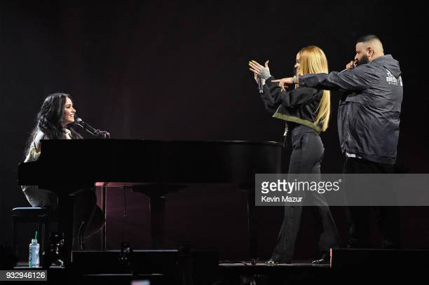 Demi Lovato performs onstage with Kehlani and DJ Khaled during the 'Tell Me You Love Me' World Tour at Barclays Center of Brooklyn on March 16 2018...