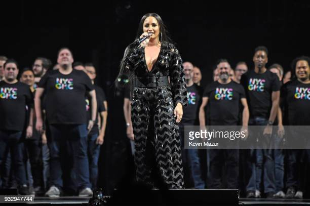 Demi Lovato performs onstage with the New York City Gay Men's Chorus during the 'Tell Me You Love Me' World Tour at Barclays Center of Brooklyn on...