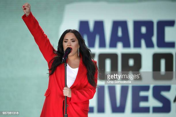 Demi Lovato performs Skyscraper during the March for Our Lives rally on March 24 2018 in Washington DC Hundreds of thousands of demonstrators...