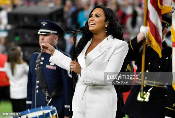 Demi Lovato performs the National Anthem prior to the start of Super Bowl LIV between the San Francisco 49ers and Kansas City Chiefs at Hard Rock...