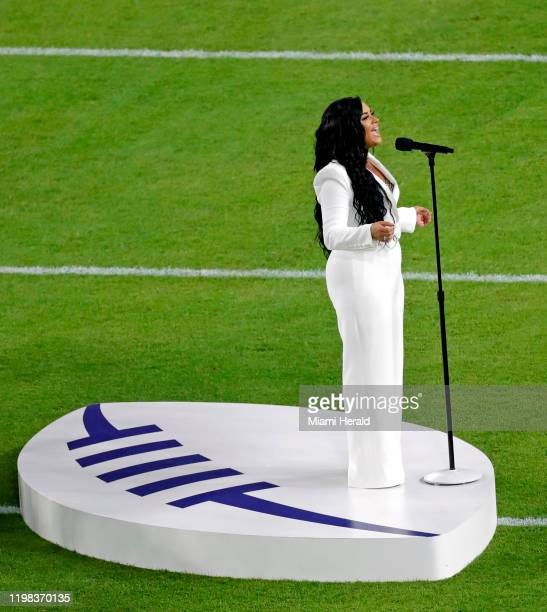 Demi Lovato performs thenNational anthem before the San Francisco 49ers face off against the Kansas City Chiefs at Super Bowl LIV at Hard Rock...