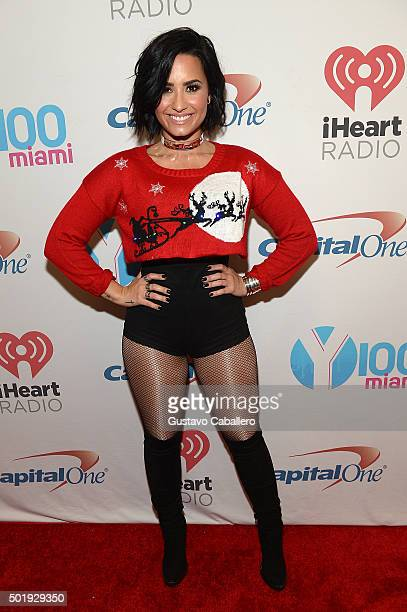Demi Lovato poses backstage at Y100's Jingle Ball 2015 at BBT Center on December 18 2015 in Sunrise Florida