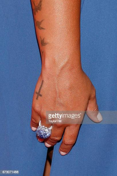 Demi Lovato ring detail tattoo detail attends the 2017 Time 100 Gala at Jazz at Lincoln Center on April 25 2017 in New York City