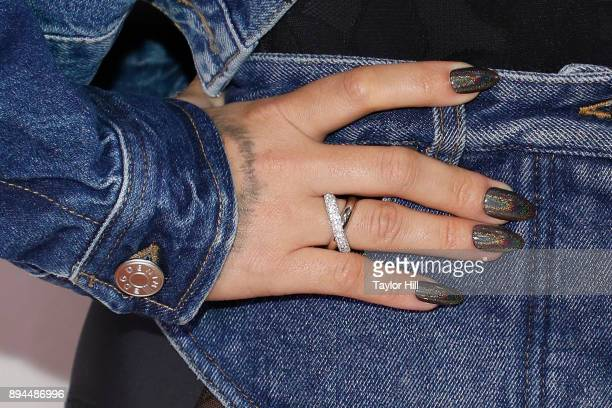Demi Lovato ring detail/nail detail attends the 2017 Y100 Jingle Ball at BBT Center on December 17 2017 in Sunrise Florida Photo by Taylor...