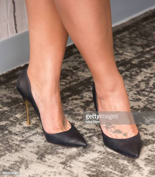 Demi Lovato shoe detail attends Build Series to discuss Smurfs The Lost Village at Build Studio on March 20 2017 in New York City