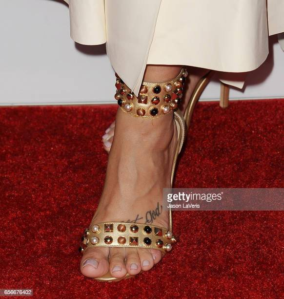 Demi Lovato shoe detail attends UCLA's Semel Institute's biannual Open Mind Gala at The Beverly Hilton Hotel on March 22 2017 in Beverly Hills...