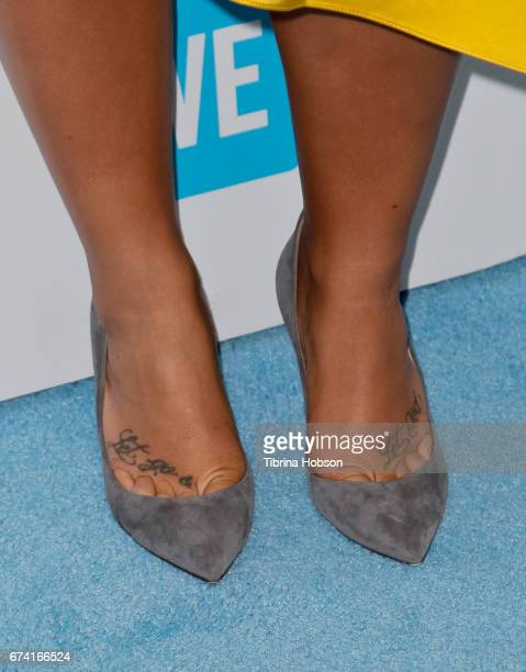 Demi Lovato shoe detail attends We Day California 2017 at The Forum on April 27 2017 in Inglewood California