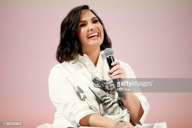Demi Lovato speaks on stage at the Teen Vogue Summit 2019 at Goya Studios on November 02 2019 in Los Angeles California