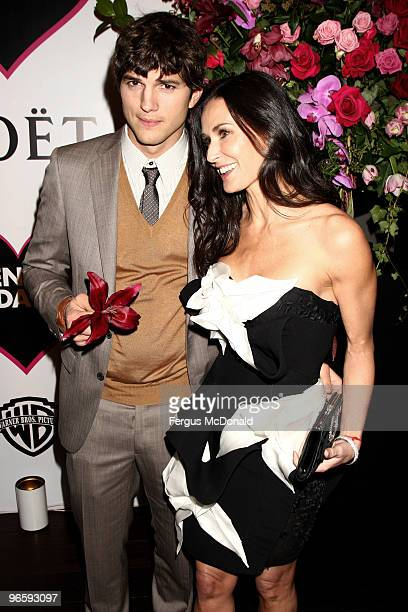 Demi Moore and Ashton Kutcher attend the European premiere afterparty of Valentine's Day at Aqua on February 11 2010 in London England