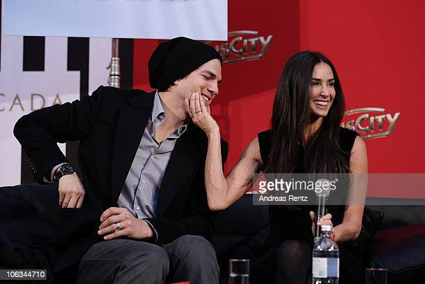 Demi Moore and Ashton Kutcher attend the photo call for their Charity Gala at PlusCity on October 29 2010 in Pasching near Linz Austria