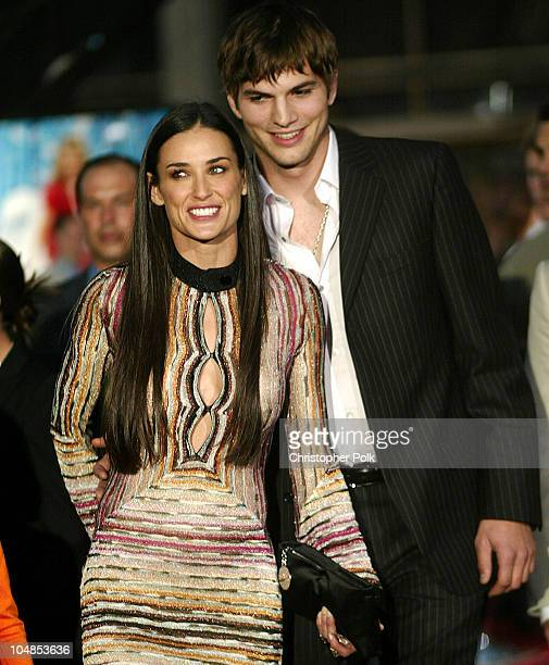 Demi Moore and Ashton Kutcher during Premiere of Charlie's Angels Full Throttle at Grauman's Chinese Theatre in Hollywood California United States