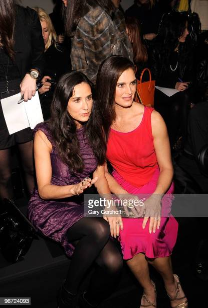 Demi Moore and Brooke Shields attend Donna Karan Collection Fall 2010 during MercedesBenz Fashion Week at 711 Greenwich Street on February 15 2010 in...