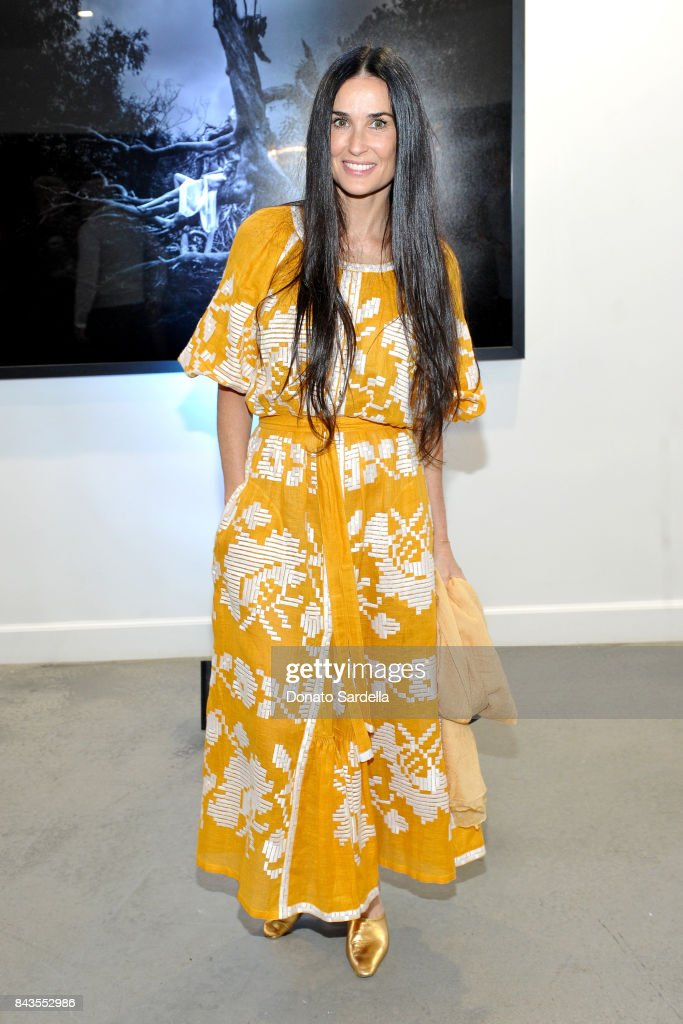 "Demi Moore and celebrity floral and fragrance designer Eric Buterbaugh attend the private opening of Sascha von Bismarck debut photography collection, ""PERFUME,"" at Eric Buterbaugh Gallery on September 6, 2017 in Los Angeles, California."