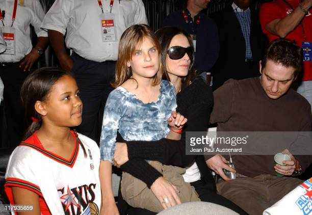 Demi Moore and daughter Tallulah Belle Willis during 2004 NBA AllStar Celebrity Game at Los Angeles Convention Center in Los Angeles California...