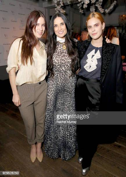 Demi Moore and daughters Scout laRue Willis and Tallulah Willis attend Visionary Women's honoring of activist and actress Demi Moore in celebration...