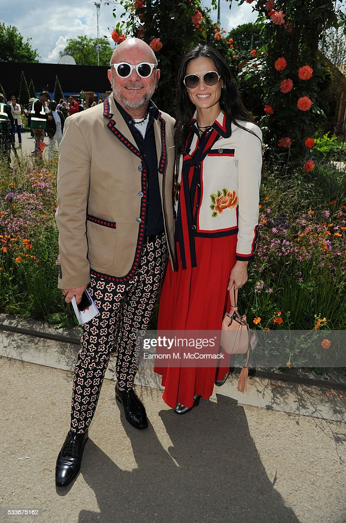 Demi Moore and Eric Buterbaugh attend Chelsea Flower Show press day at Royal Hospital Chelsea on May 23, 2016 in London, England. The prestigious gardening show features hundreds of stands and exhibition gardens.