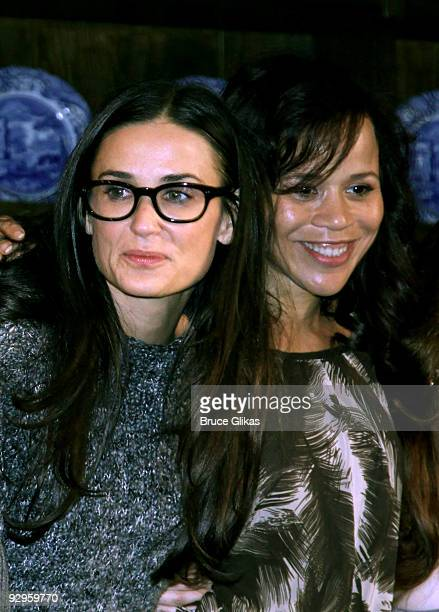 Demi Moore and Rosie Perez attends the curtain call for the 9th annual 24 Hour Plays at the American Airlines Theatre on November 9 2009 in New York...
