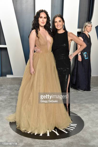 Demi Moore and Rumer Willis attend the 2020 Vanity Fair Oscar Party hosted by Radhika Jones at Wallis Annenberg Center for the Performing Arts on...