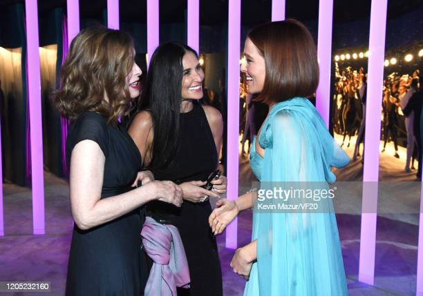 Demi Moore and Zoey Deutch attend the 2020 Vanity Fair Oscar Party hosted by Radhika Jones at Wallis Annenberg Center for the Performing Arts on...