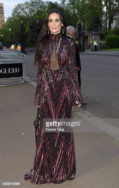 Demi Moore arrives for the Gala to celebrate the Vogue 100 Festival at Kensington Gardens on May 23 2016 in London England