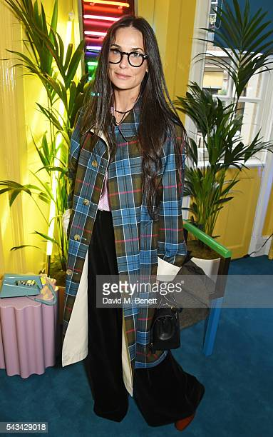 Demi Moore attends a drinks reception and dinner in celebration of the Sabine Getty Showroom in Berkeley Square on June 28 2016 in London England