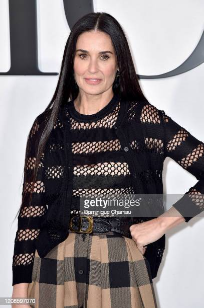 Demi Moore attends the Dior show as part of the Paris Fashion Week Womenswear Fall/Winter 2020/2021 on February 25, 2020 in Paris, France.
