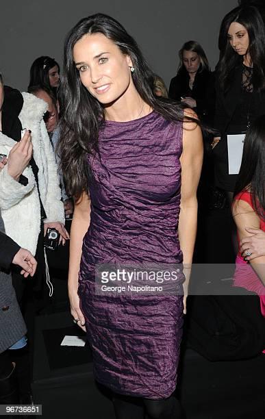 Demi Moore attends the Donna Karan Collection Fall 2010 fashion show during Mercedes-Benz Fashion Week at 711 Greenwich Street on February 15, 2010...