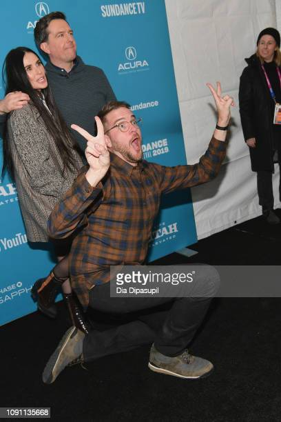 Demi Moore Ed Helms and Director Patrick Brice attend the Corporate Animals Premiere during the 2019 Sundance Film Festival at Eccles Center Theatre...