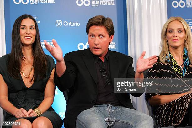 Demi Moore Emilio Estevez and Sharon Stone during 31st Annual Toronto International Film Festival 'Bobby' Press Conference at Sutton Place in Toronto...