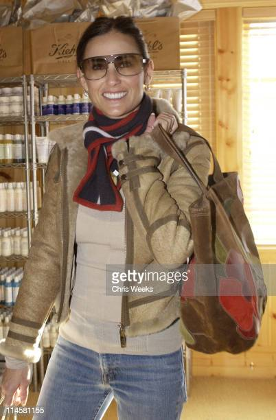 Demi Moore in front of Kiehl's display during 2004 Park City Motorola Lodge at Motorolla House in Park City Utah United States