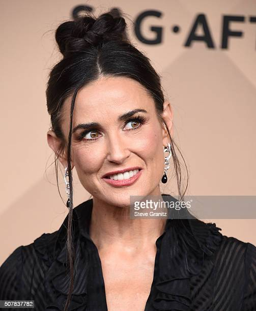 Demi Moore poses at the 22nd Annual Screen Actors Guild Awards at The Shrine Auditorium on January 30 2016 in Los Angeles California