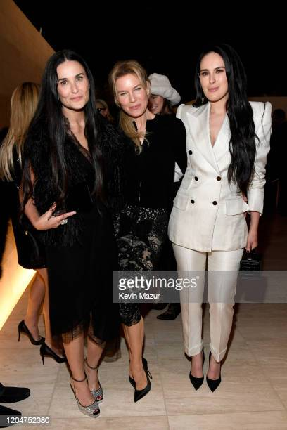 Demi Moore, Renée Zellweger, and Rumer Willis attend the Tom Ford AW20 Show at Milk Studios on February 07, 2020 in Hollywood, California.