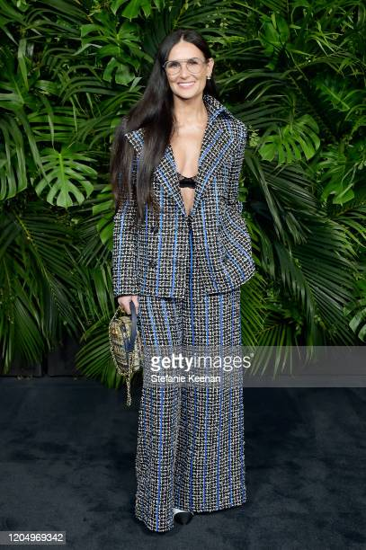 Demi Moore wearing CHANEL attends CHANEL and Charles Finch PreOscar Awards Dinner at Polo Lounge at The Beverly Hills Hotel on February 08 2020 in...