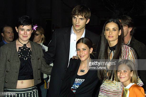 Demi Moore with boyfriend Ashton Kutcher and her daughters arriving for the premiere of 'Charlie's Angeles at Mannn's Chinese Theater in Hollywood CA...